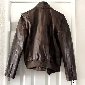 Andrew Marc Jackets & Coats - Andrew Marc Lamb Skin Leather Bomber Brown Jacket